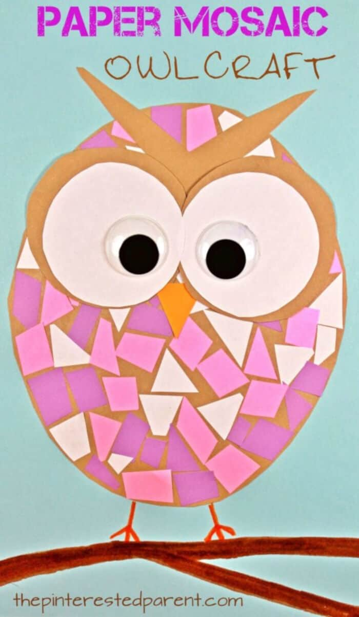 Paper Mosaic Owls by The Pinterested Parent