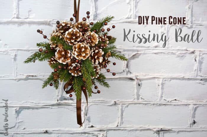 Pine Cone DIY Kissing Ball by Crafts Unleashed