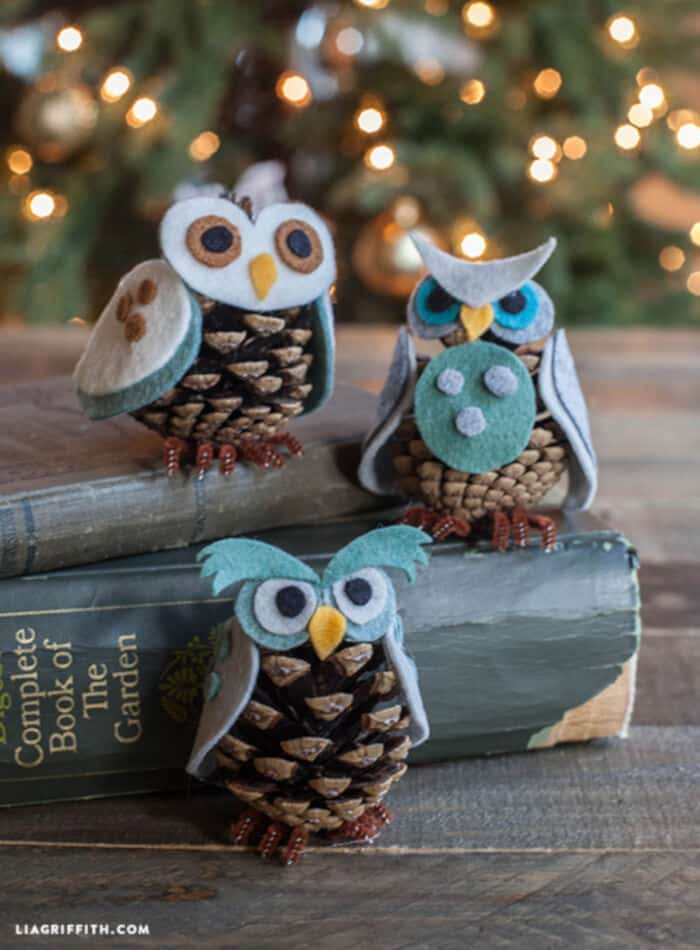 Pine Cone Owl Ornaments by Lia Griffith