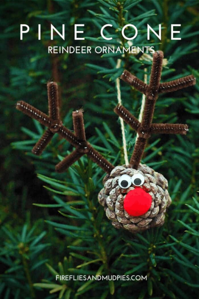 Pine Cone Reindeer Ornaments by Fireflies and Mud Pies