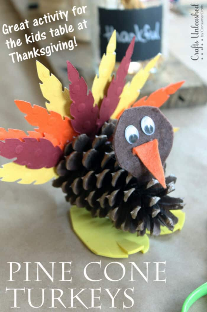 Pine Cone Turkey Craft For Kids by Crafts Unleashed