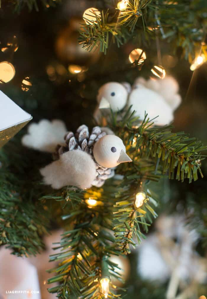 Pinecone Bird Ornament by Lia Griffith