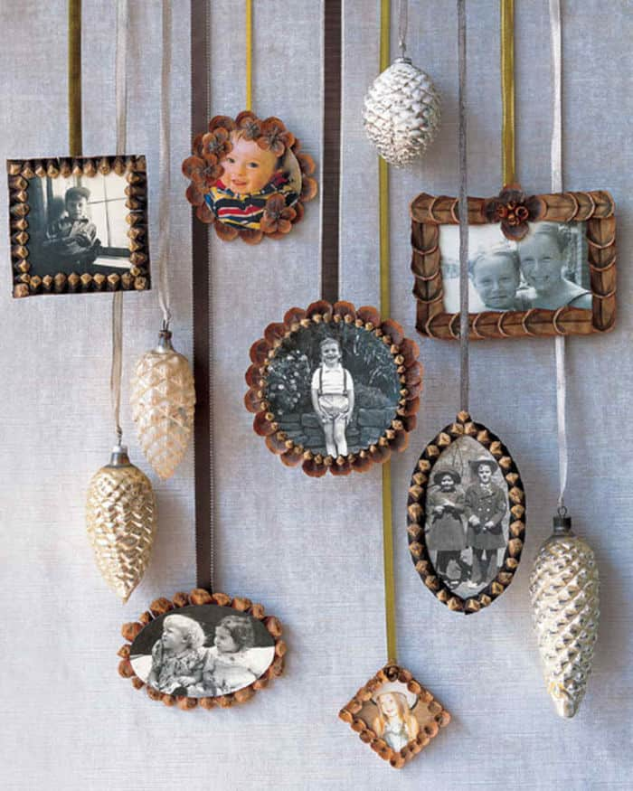 Pinecone Picture-Frame Ornaments by Martha Stewart
