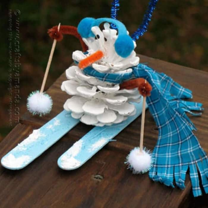 Pinecone Snowman by Crafts by Amanda