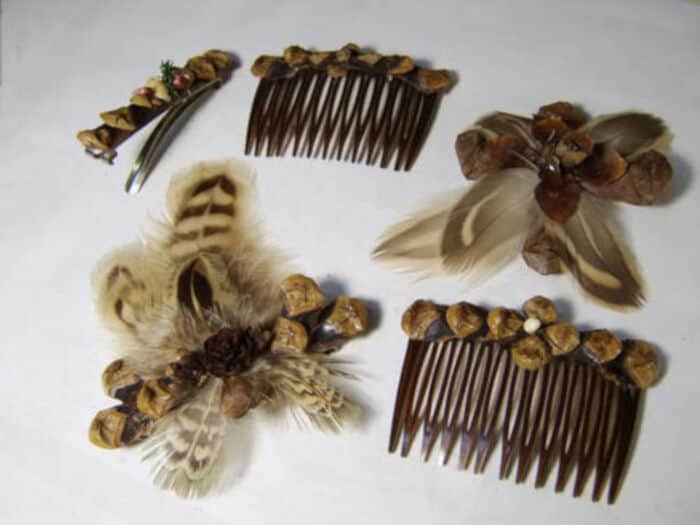Pinecone and Feathers Barrettes and Pins by Craftster