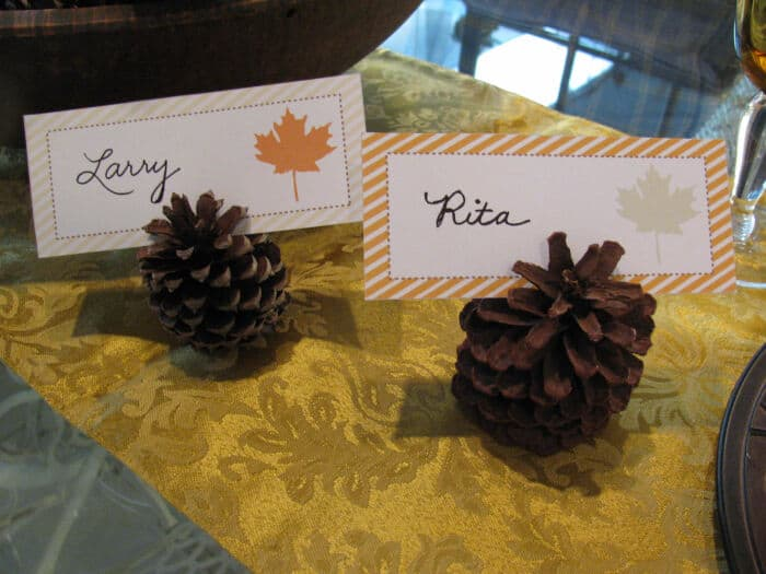 Pinecones, Golden Yellow and Printable Placecards by May Days