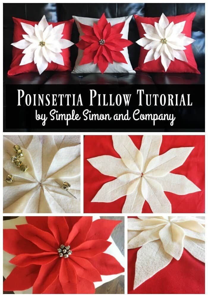 Poinsettia Pillow by Simple Simon and Company