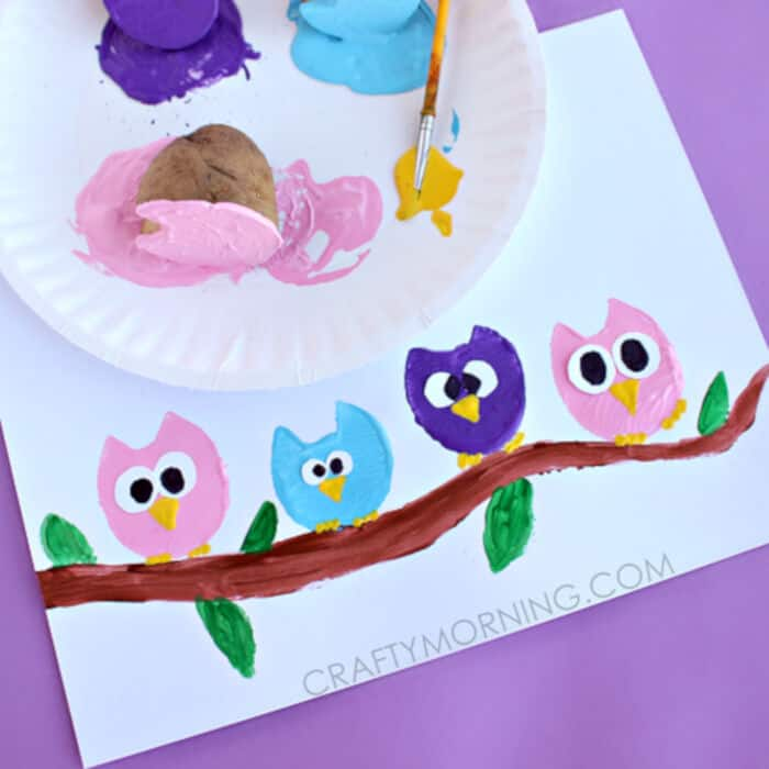 Potato Print Owl Craft by Crafty Morning