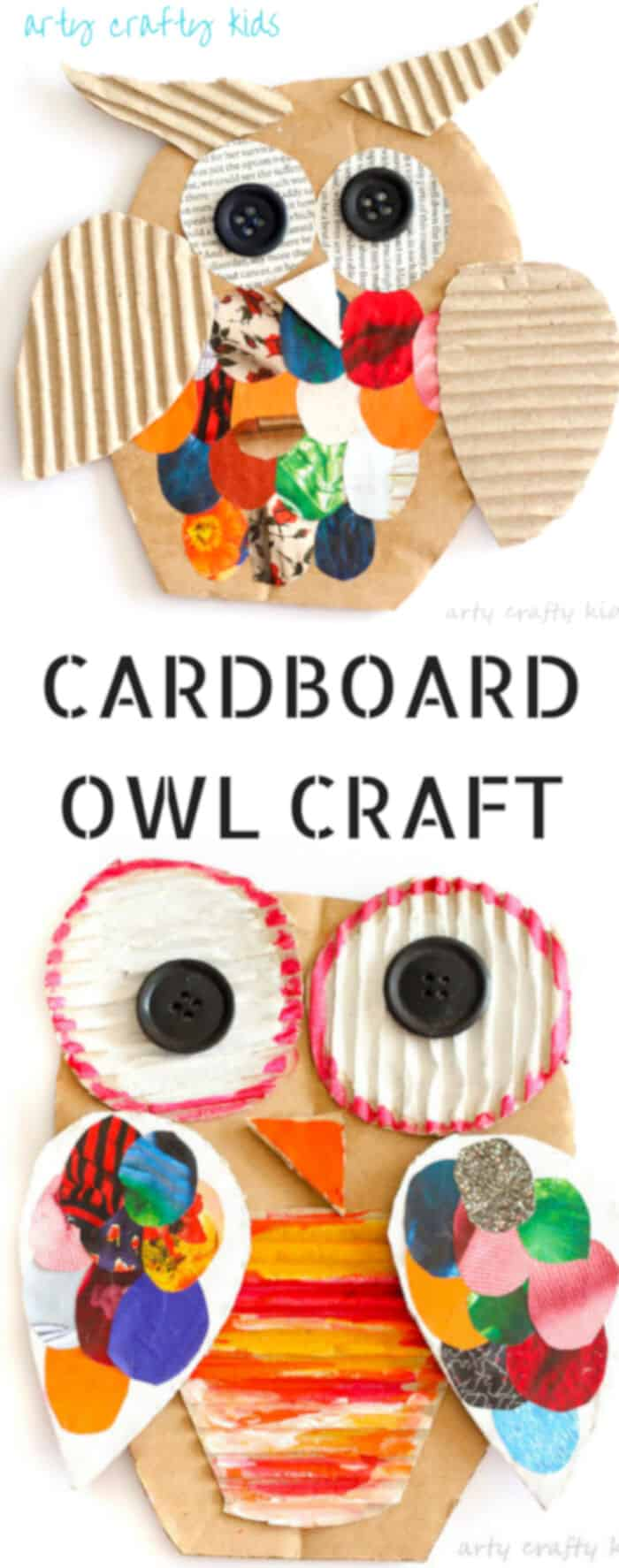 Recycled Cardboard Owl Craft by Arty Crafty Kids