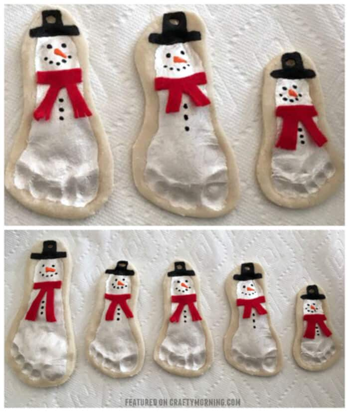 Salt Dough Footprint Snowman Keepsakes by Crafty Morning