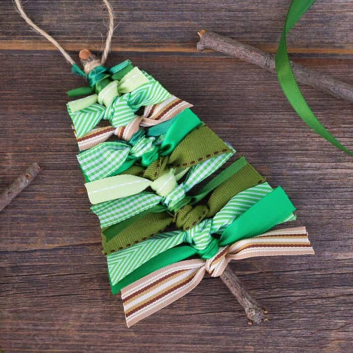 Scrap Ribbon Christmas Tree Ornament by Fireflies and Mud Pies