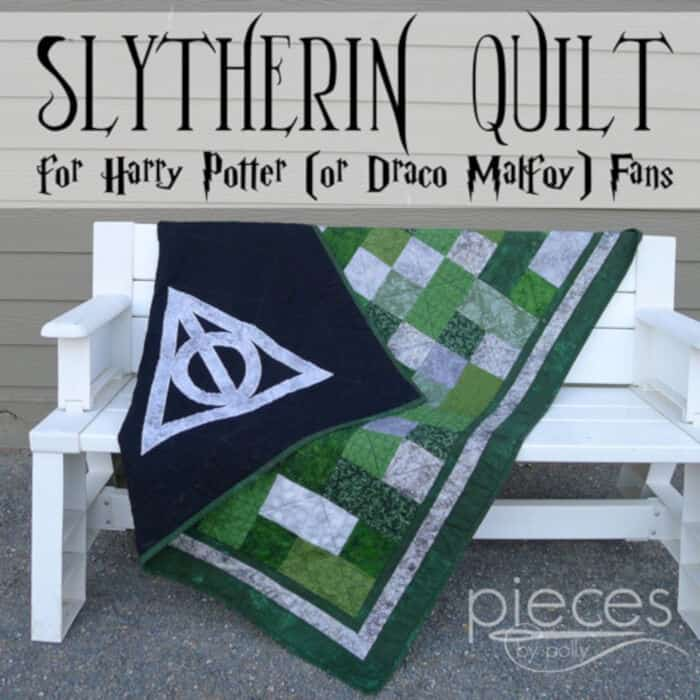Slytherin Quilt for Harry Potter (or Draco Malfoy) Fans by Pieces by Polly