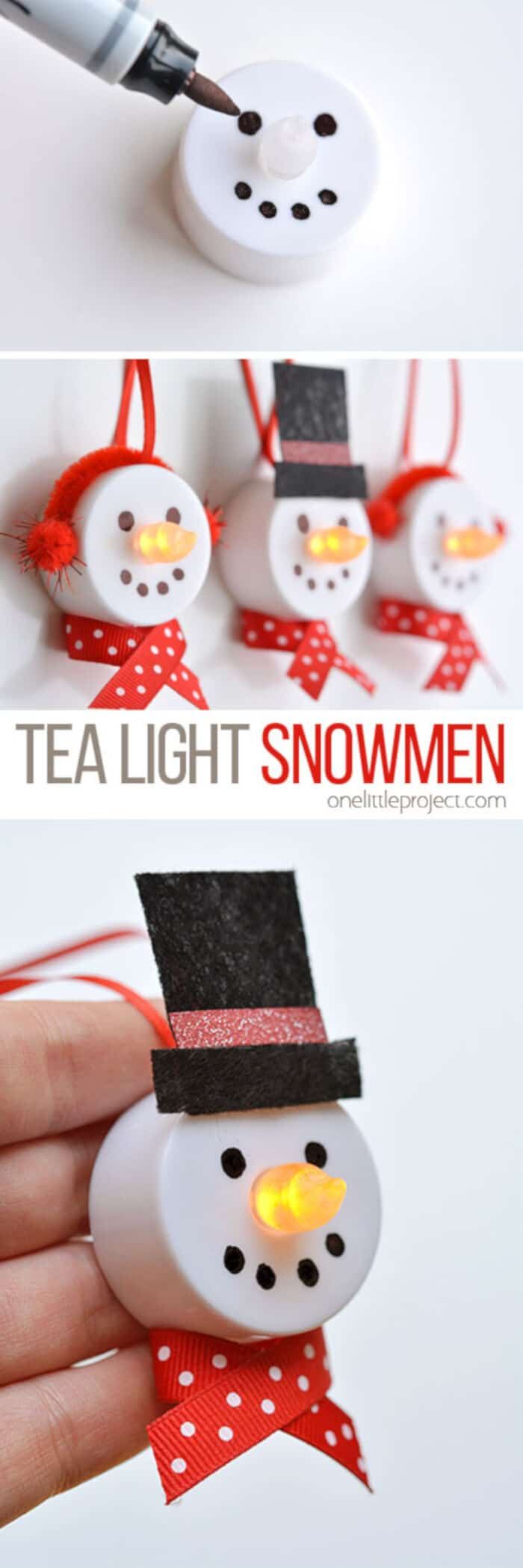 Tea Light Snowman Ornaments by One Little Project