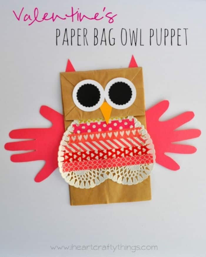 Valentines Paper Bag Owl Puppet by I Heart Crafty Things