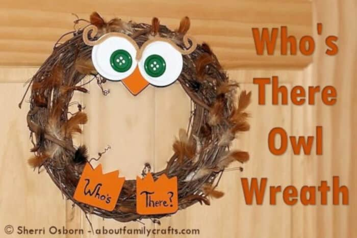Whos There Owl Wreath by About Family Crafts
