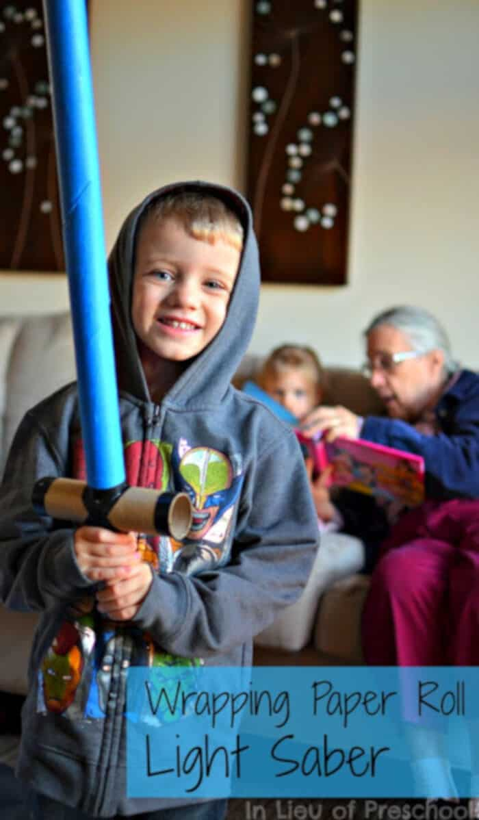 Wrapping Paper Roll Light Saber by In Lieu of Preschool