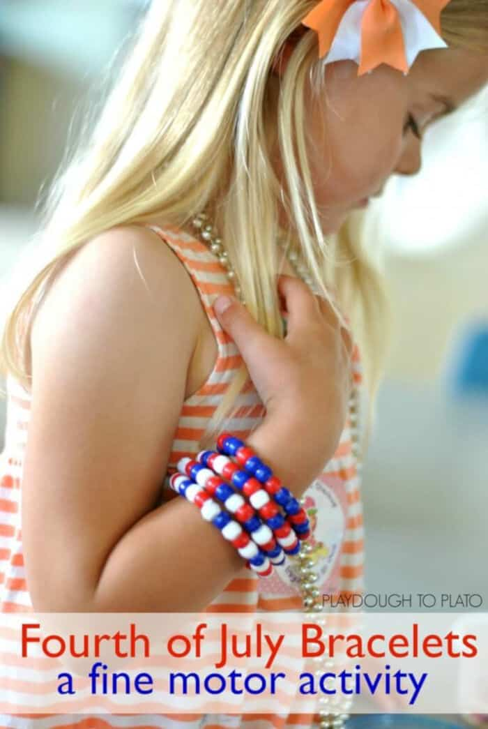 4th of July Bracelets by Playdough to Plato