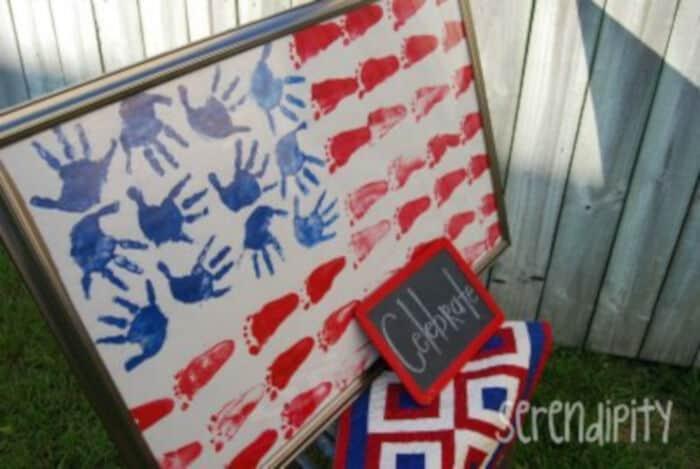 4th of July Handprint Footprint Flag Craft by Preschool Craft for Kids