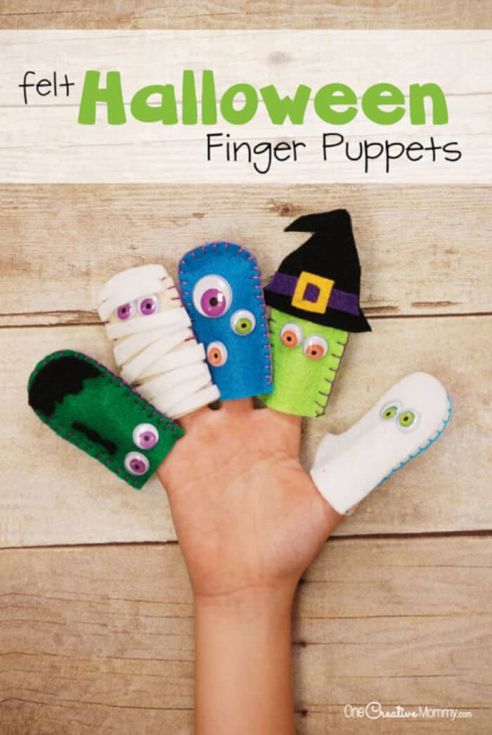 Adorable Felt Halloween Finger Puppets by One Creative Mommy