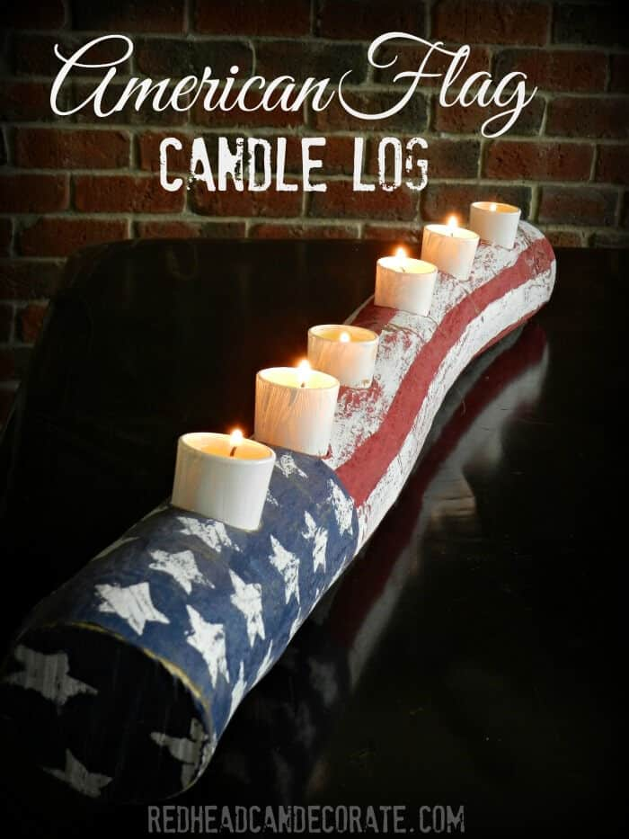 American Flag Log Candle by Redhead Can Decorate