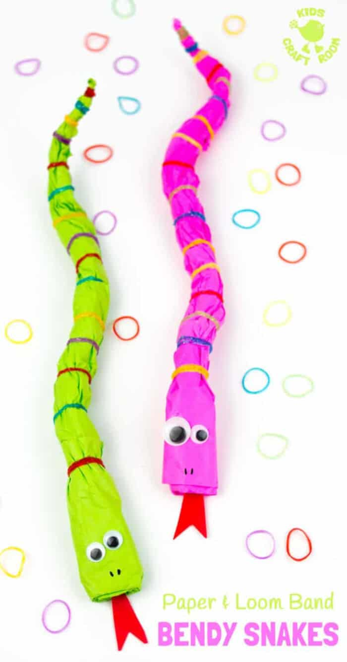 Bendy-Paper-and-Loom-Band-Snake-Craft-by-Kids-Craft-Room