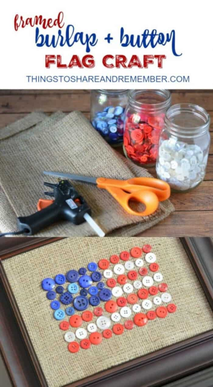Burlap Button Flag by Things To Share and Remember