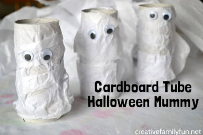 Cardboard Tube Halloween Mummy Craft by Creative Family Fun