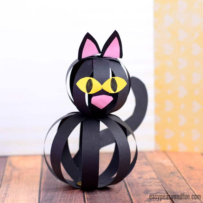 Cat Craft with Paper Strips by Easy Peasy and Fun