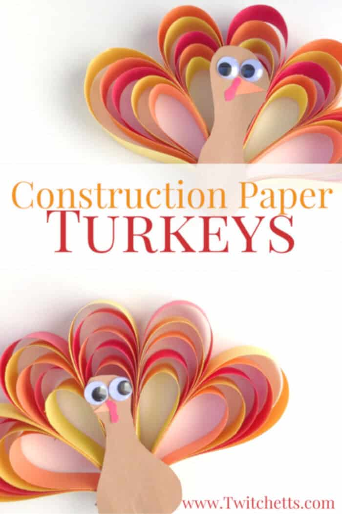 Construction Paper Turkey Craft by Twitchetts