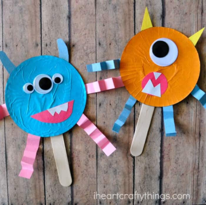 Cupcake Liner Monster Stick Puppets by I Heart Crafty Things