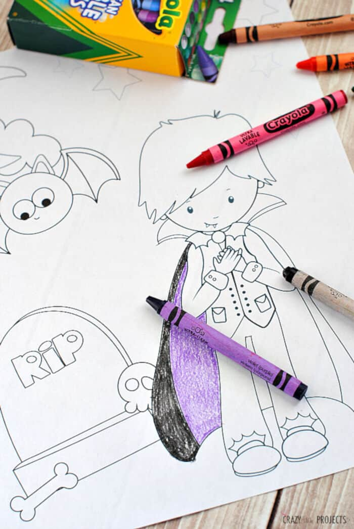 Cute Free Printable Halloween Coloring Pages by Crazy Little Projects