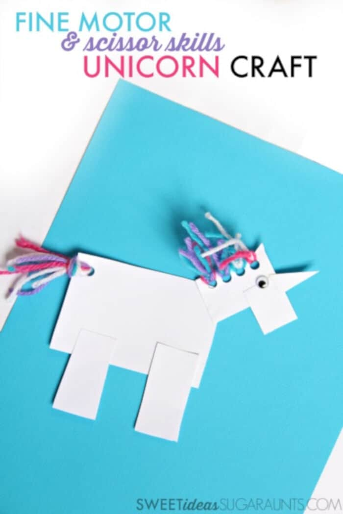 Cute Unicorn Craft for Fine Motor Scissor Skills by The OT Toolbox