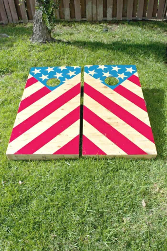 DIY American Flag Corn Hole by Collectively Christine