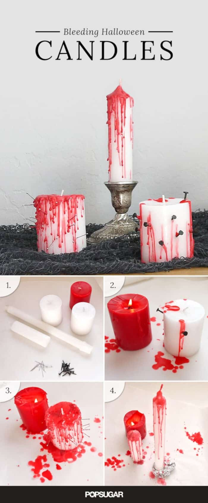 DIY Bleeding Halloween Candles by POPSUGAR