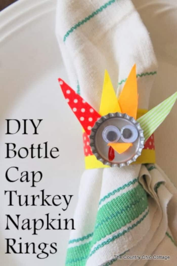 DIY Bottle Cap Turkey Napkin Rings by The Country Chic Cottage