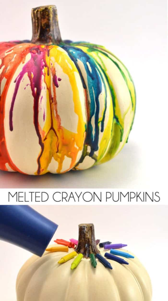 DIY Fall Halloween Melted Crayon Pumpkin by Mom Spark