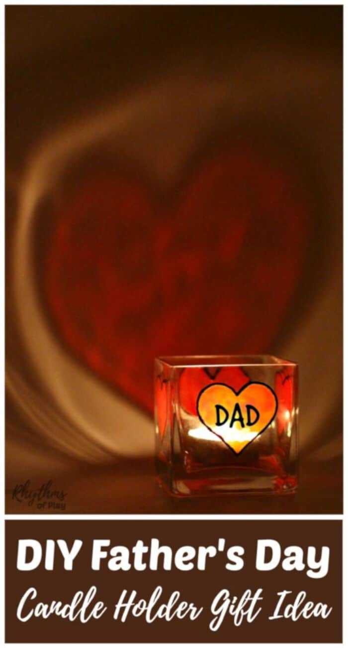 DIY Fathers Day Personalized Candle Holder Gift Idea by Rhythms of Play