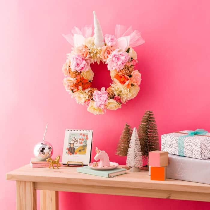 DIY Floral Unicorn Christmas Wreath by Brit + Co