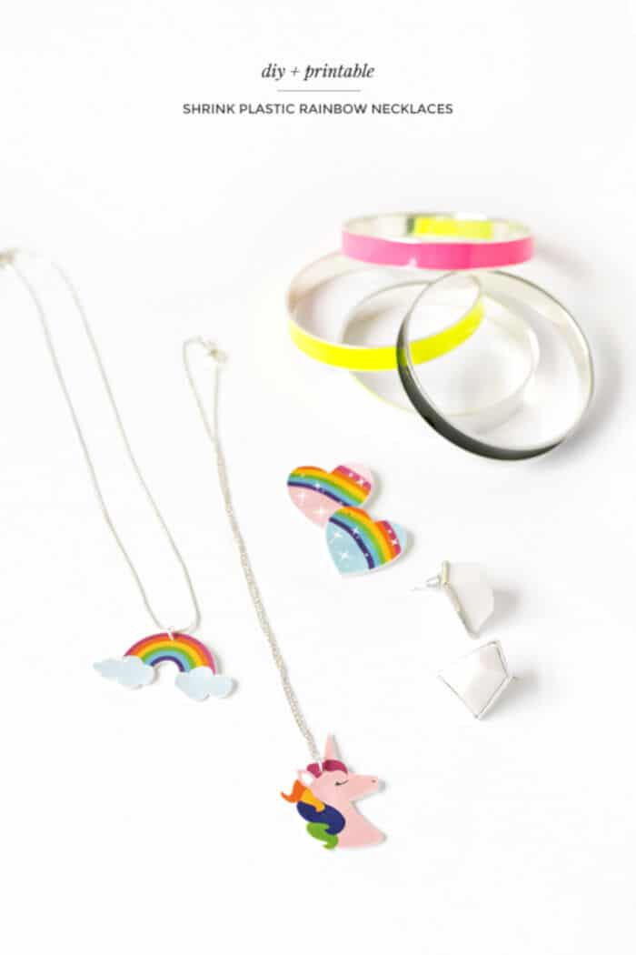 DIY Shrink Plastic Rainbow Necklaces by Make and Tell