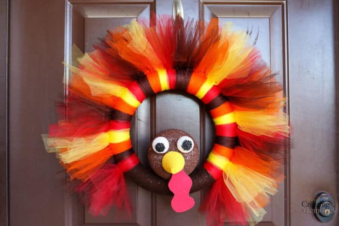 DIY Turkey Tulle Wreath by Busy Creating Memories