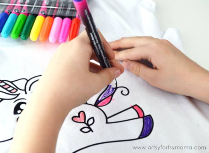 DIY Unicorn Coloring Shirt by Artsy Fartsy Mama