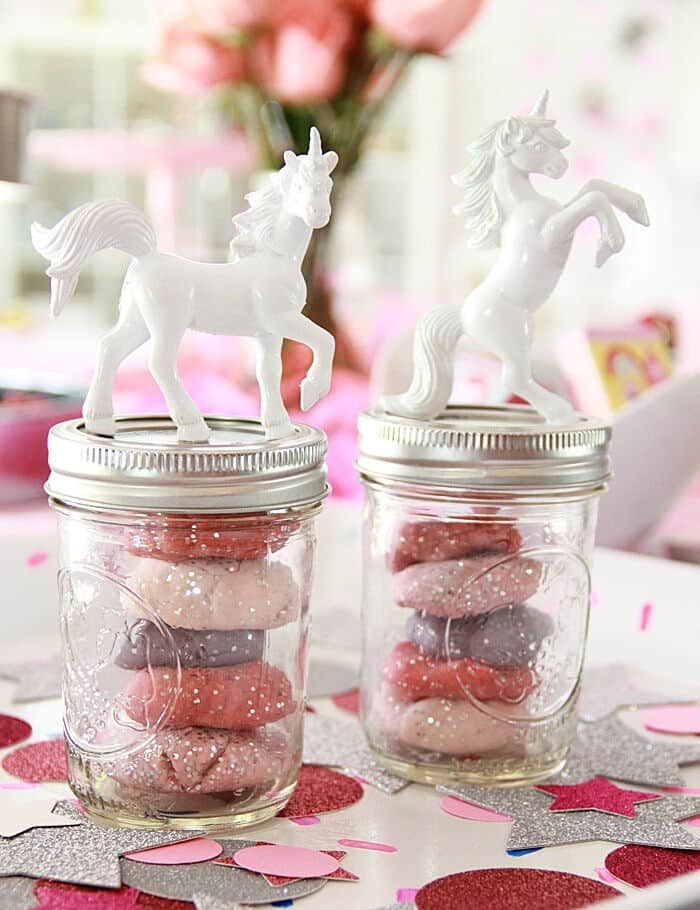 DIY Unicorn Glitter Play Dough Party Favor by A Bubbly Life