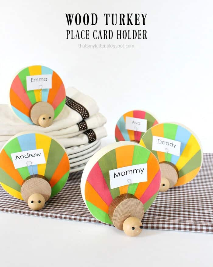 DIY Wood Turkey Place Card Holders by Lolly Jane