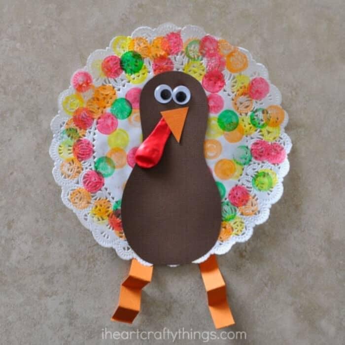Doily Turkey Craft by I Heart Crafty Things