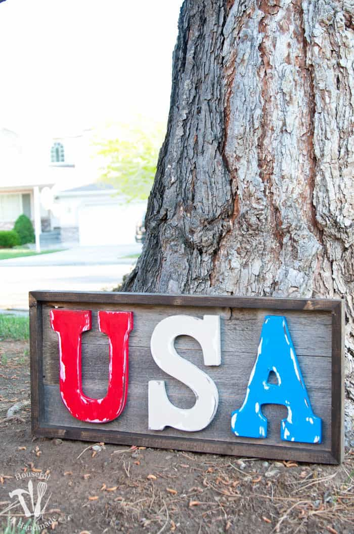 Easy DIY Rustic USA Wood Sign by Houseful of Handmade