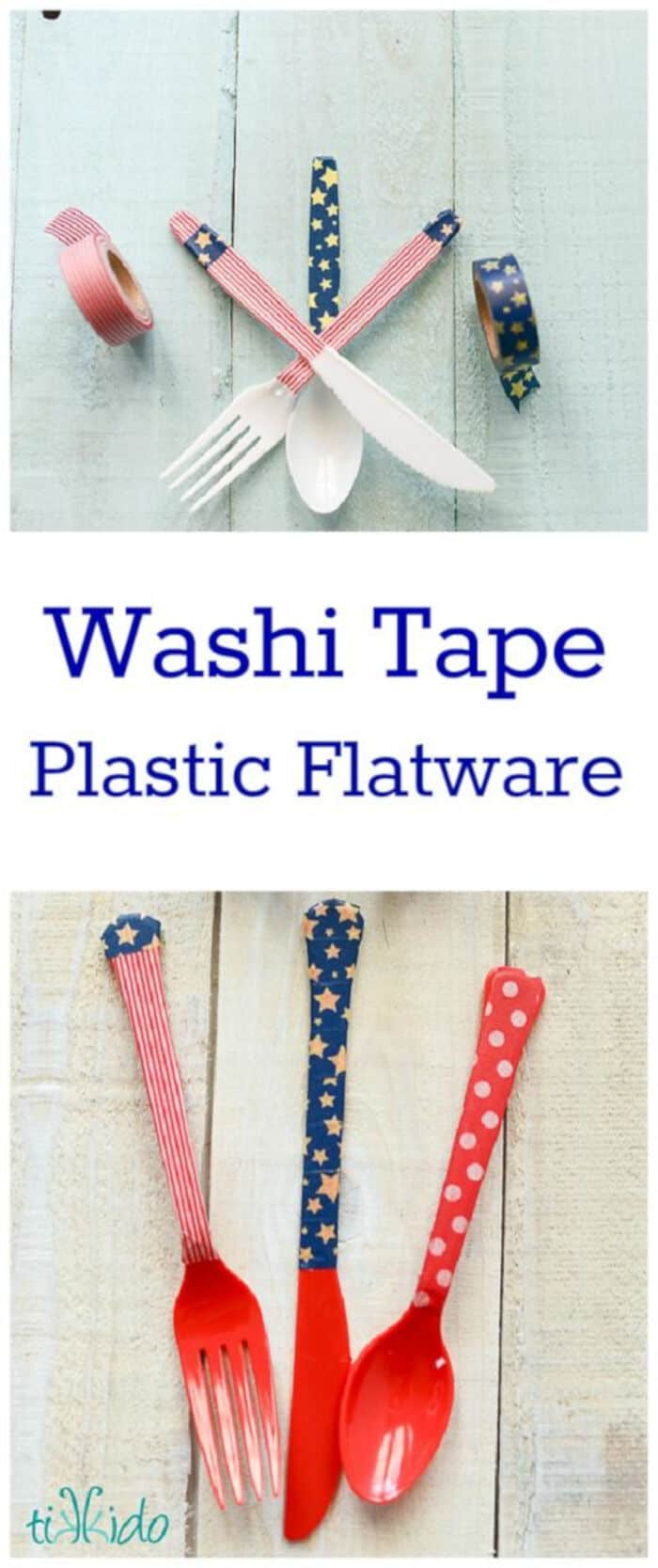 Easy Decorated Silverware Tutorial Using Washi Tape by Tikkido