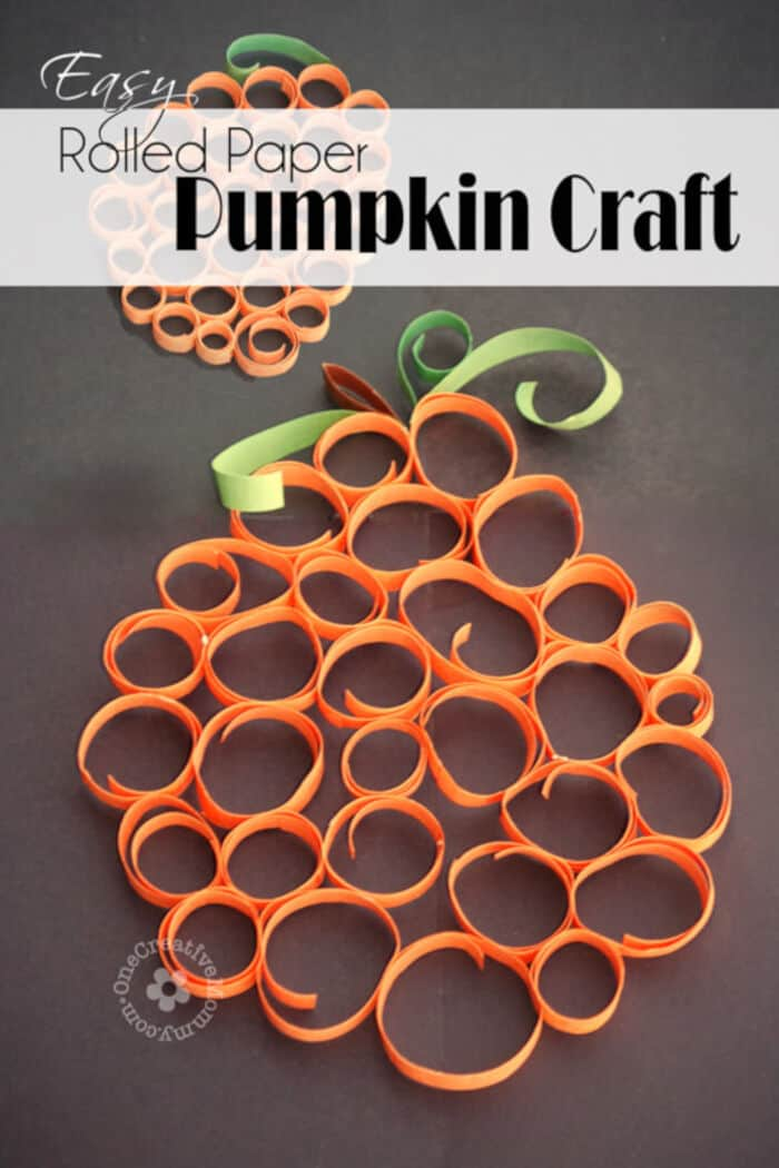 Easy Rolled Paper Pumpkin Craft by One Creative Mommy