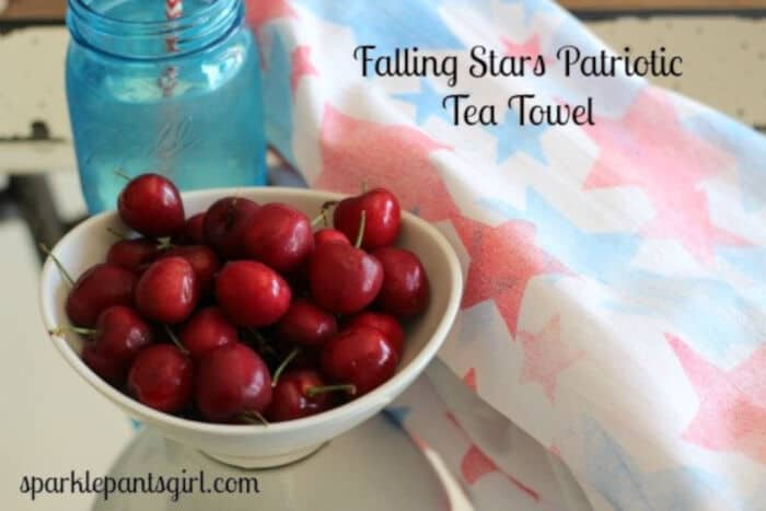 Falling Stars Patriotic Tea Towel by Sparkle Living