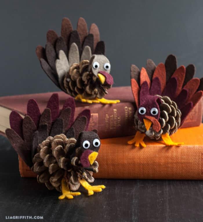 Felt and Pine Cone Turkeys by Lia Griffith
