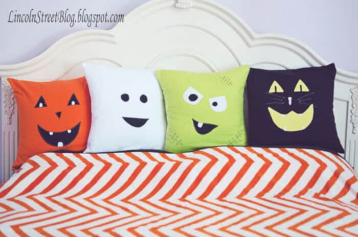 Flannel Halloween Face Pillows by Eighteen25